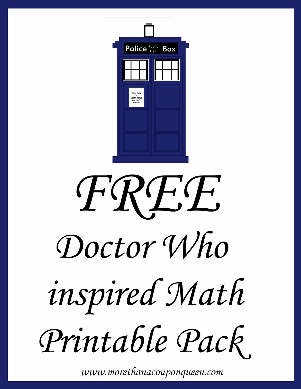 Free Doctor Who Inspired Math Printables