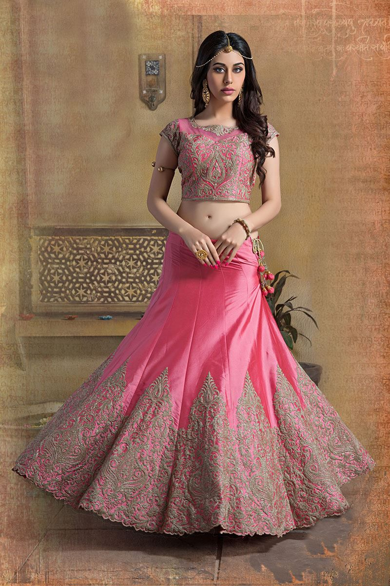 bbdce06bf1 Picture of A line pink color lehenga choli in art-silk material ...