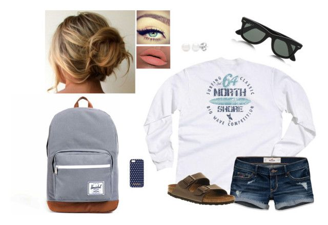 """Sophomore Year of College: Day 19"" by bubblebuddy855 ❤ liked on Polyvore featuring Hollister Co., Maybelline, LORAC, Brooks Brothers, Birkenstock, Herschel and Ray-Ban"