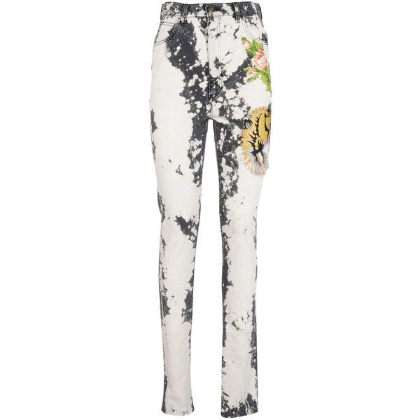 Embroidered Skinny Jeans ($723) ❤ liked on Polyvore featuring jeans, womenclothingjeans, splatter jeans, white jeans, white denim skinny jeans, skinny leg jeans and bleached skinny jeans