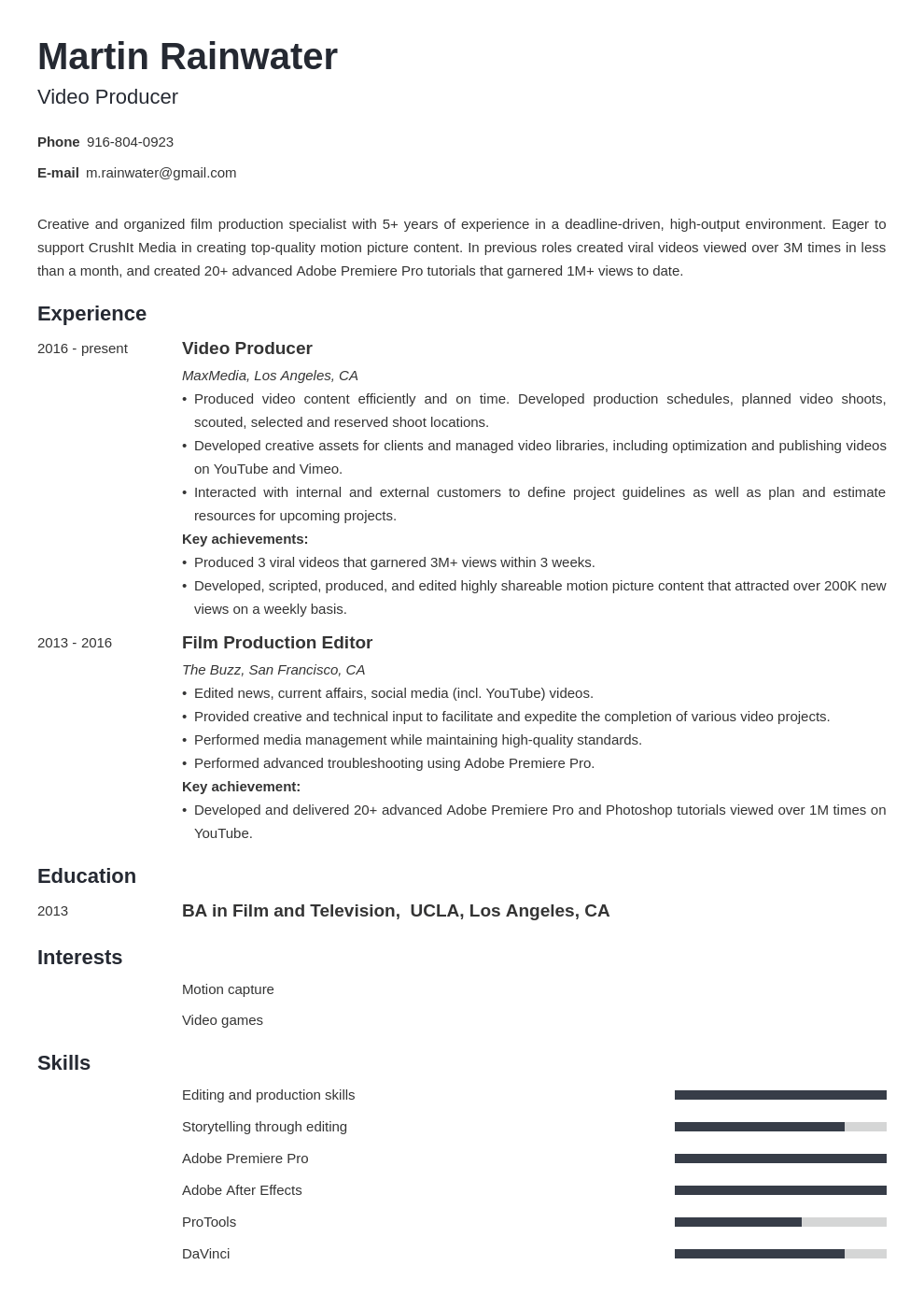Film Resume Example Template Minimo Resume Examples Guided Writing Job Resume Examples