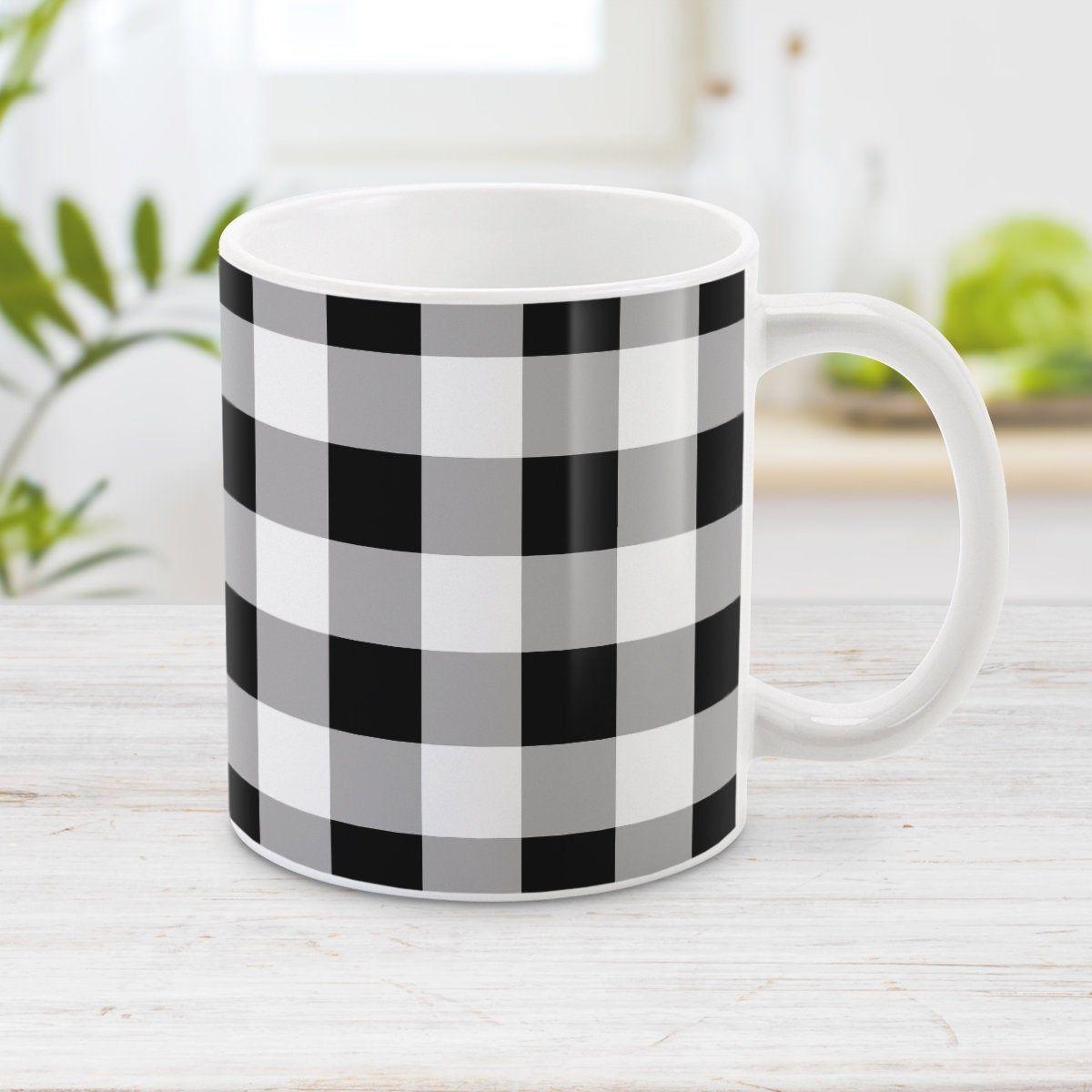 Buffalo plaid mug rustic black and white pattern 11oz or