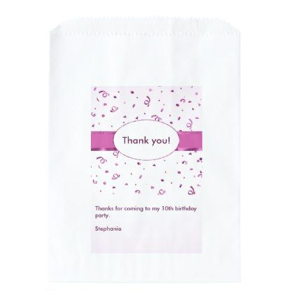 """#monogrammed - #Personalize: """"Thank You"""" Orchid Textured Favor Bag"""