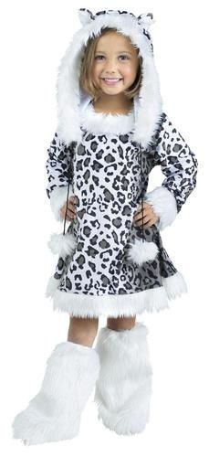 This costume includes a dress with attached tail, hood, and boot covers.
