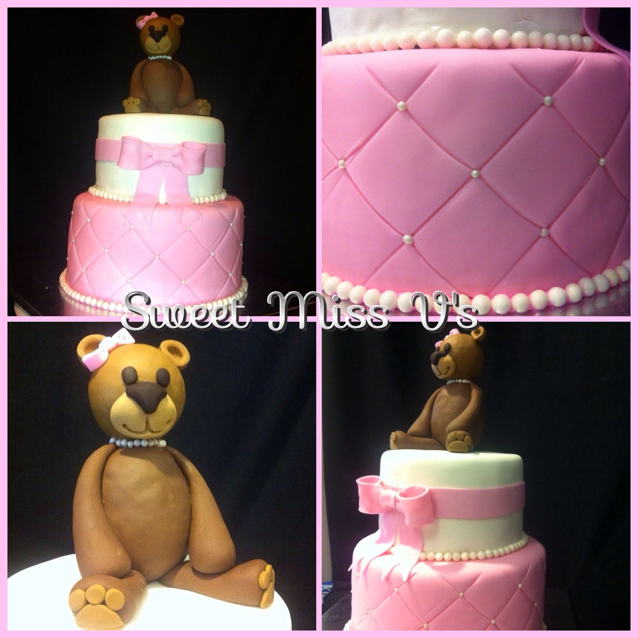 Little Girl Pretty In Pink Birthday Cake