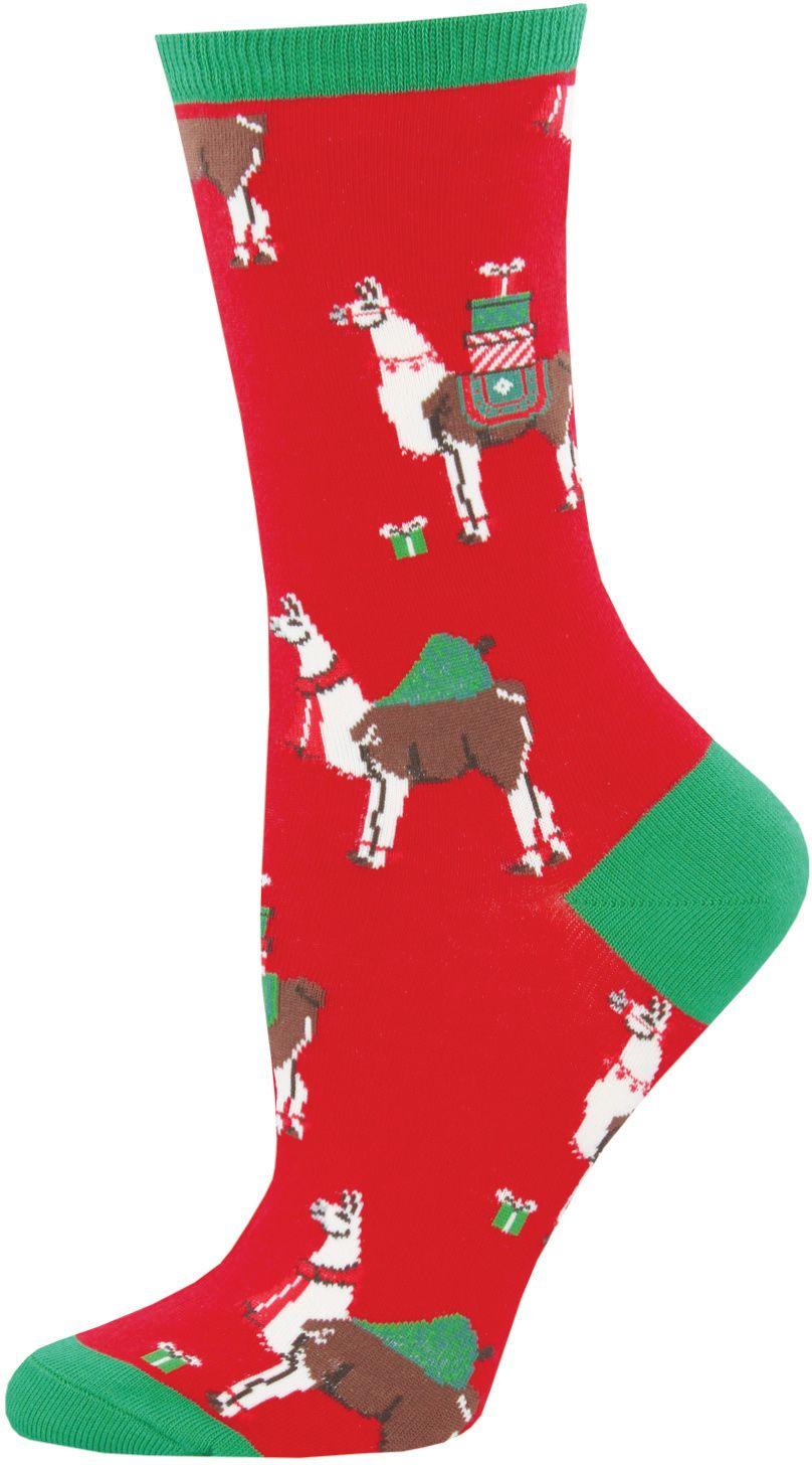 Foot Traffic Red White Santa Suit Christmas Socks Womans Cotton Blend Socks New