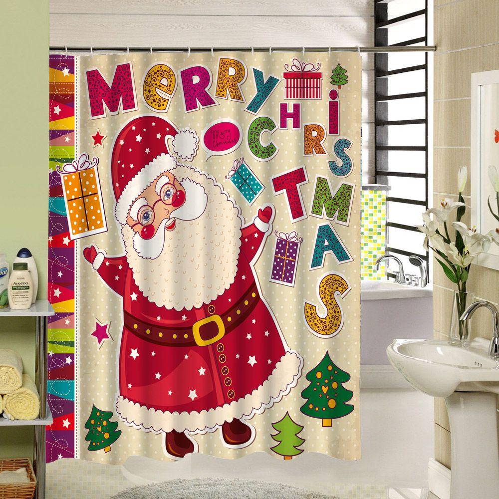 Christmas Shower Curtain Waterproof Bath Curtain Santa Claus 3d