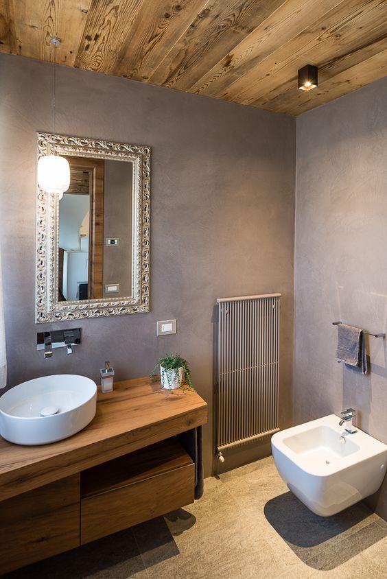 Bagno moderno in legno e resina ambiente tipico delle for Colori mobili moderni