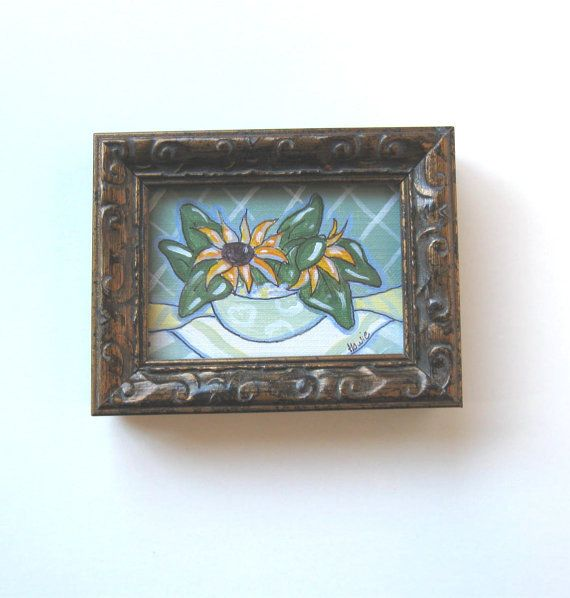 Miniature Sunflowers Still Life Painting Original by BrookeHowie, $26.00