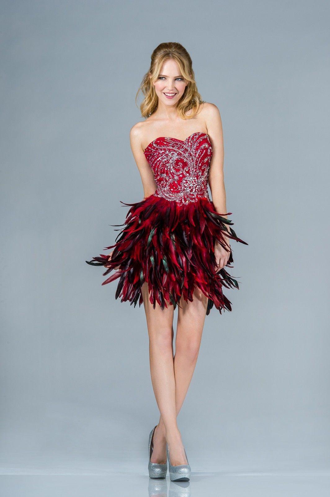 Sexy Birthday Short Prom Dress Formal Feather Red Carpet Mardi ...