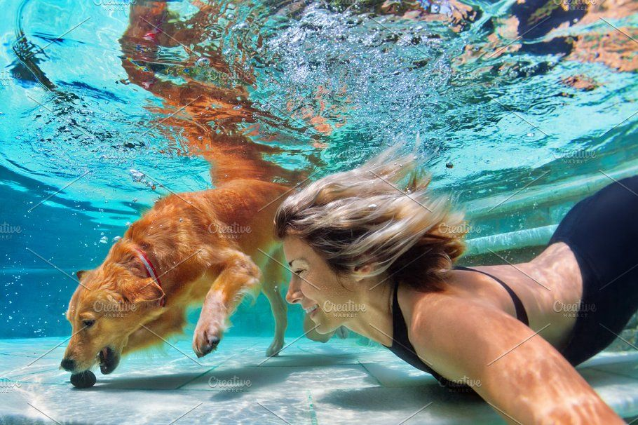 Girl With Dog Dive Underwater By Tropical Studio On