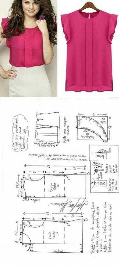 Blusa com acabamento godê na cava   Aste tu ropa   Pinterest ...