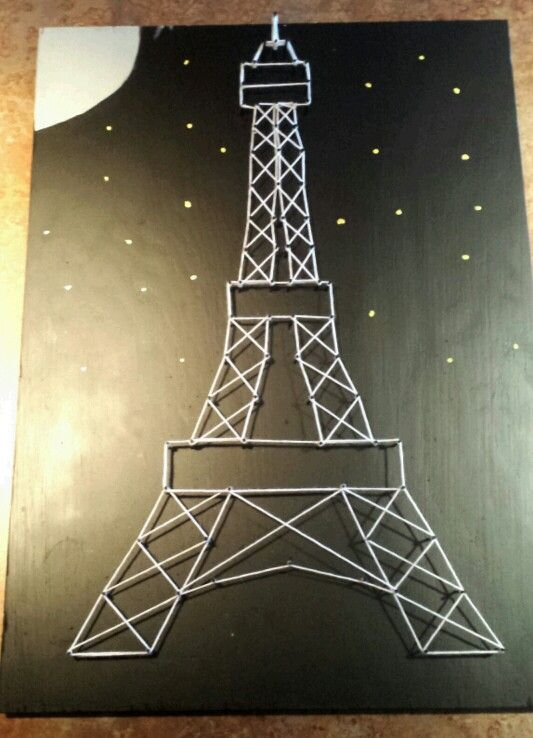 After a lot of trial and error my string art Eiffel Tower is complete!
