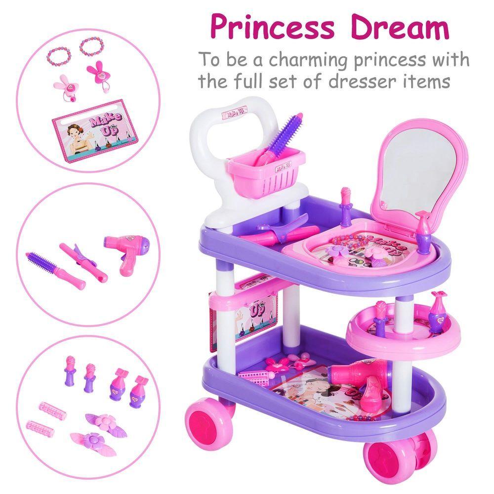 38Pcs Purple Pink Role Play Hairdresser Trolley Set Kids