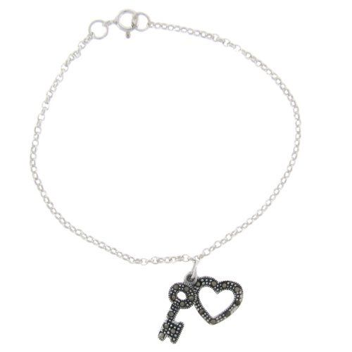 Sterling Silver Marcasite Heart and Key Bracelet LEAH HANNA. $19.99