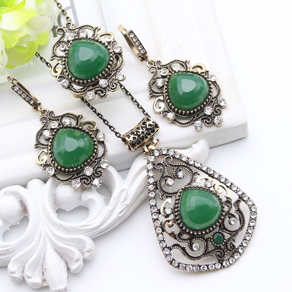 Vintage turkish resin jewelry sets for women pcs sets antique gold