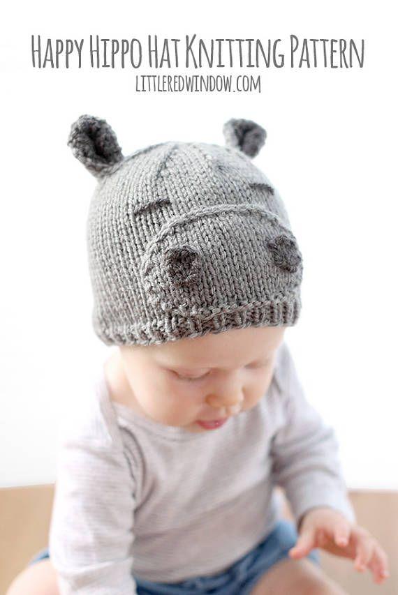 Hippo Hat Baby KNITTING PATTERN - baby hippopotamus, knit hippo hat ...