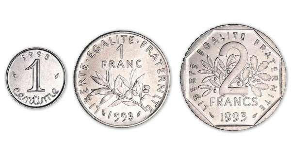 s rie 1 centime 1 franc et 2 francs 1993 born in 1970. Black Bedroom Furniture Sets. Home Design Ideas