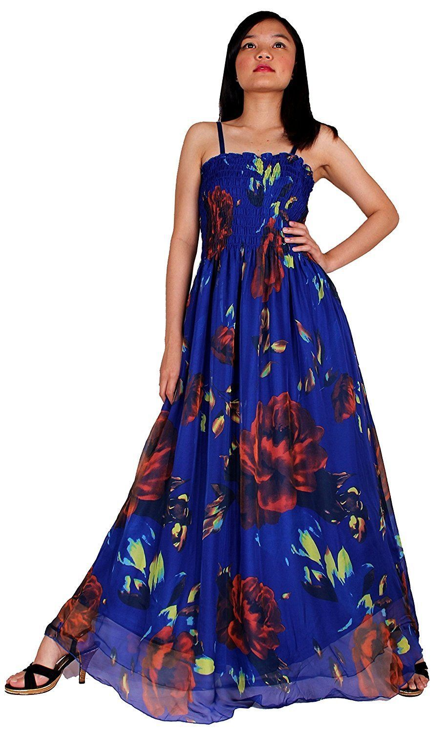 Plus size maxi dress women floral wedding guest beach party hawaiian