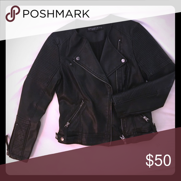 Leather jacket U.S size 2 Top shop leather jacket in great condition Topshop PETITE Jackets & Coats