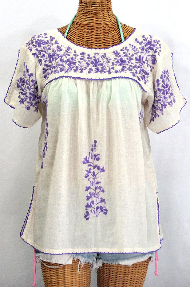 Mexican Peasant Top Blouse Hand Embroidered: