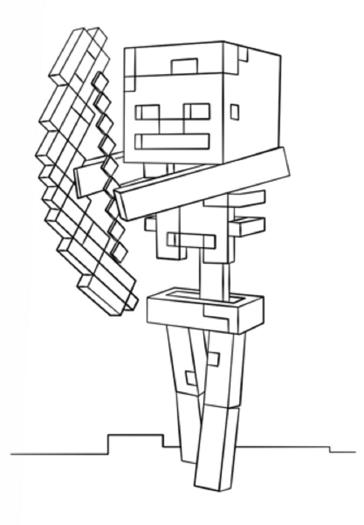 Minecraft Coloring Pages Skeleton With Bow Minecraft Coloring Pages Minecraft Coloring Free Coloring Pages