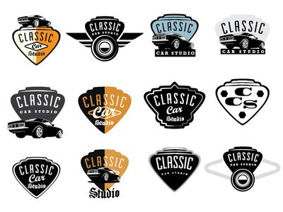 Classic Car Studio Logos And Typography