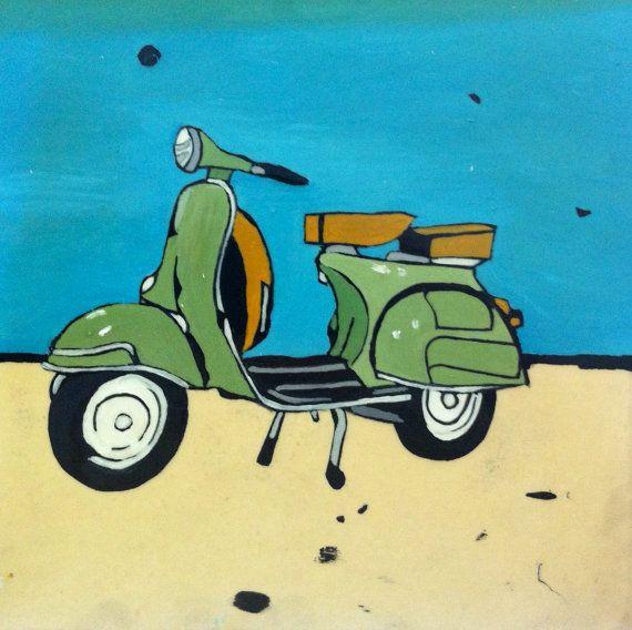 Green Vintage Retro Vespa Original Painting in Oil by TraceyOldham.