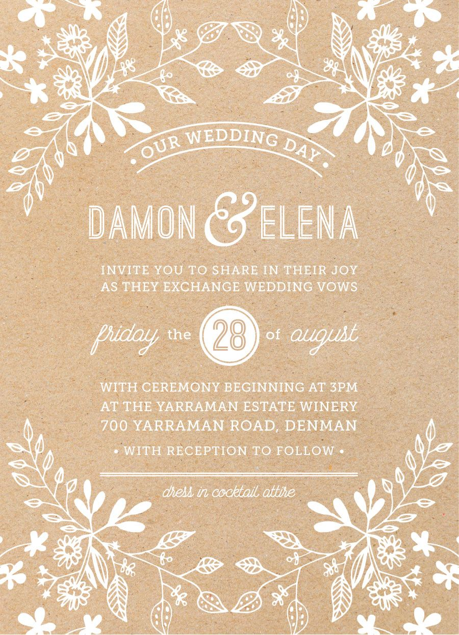Love Kraft Paper Rustic Designs Floral Patterns And A Banjo To Boot Discover Wedding Invitations On Paperlust Aussie Designers Based In