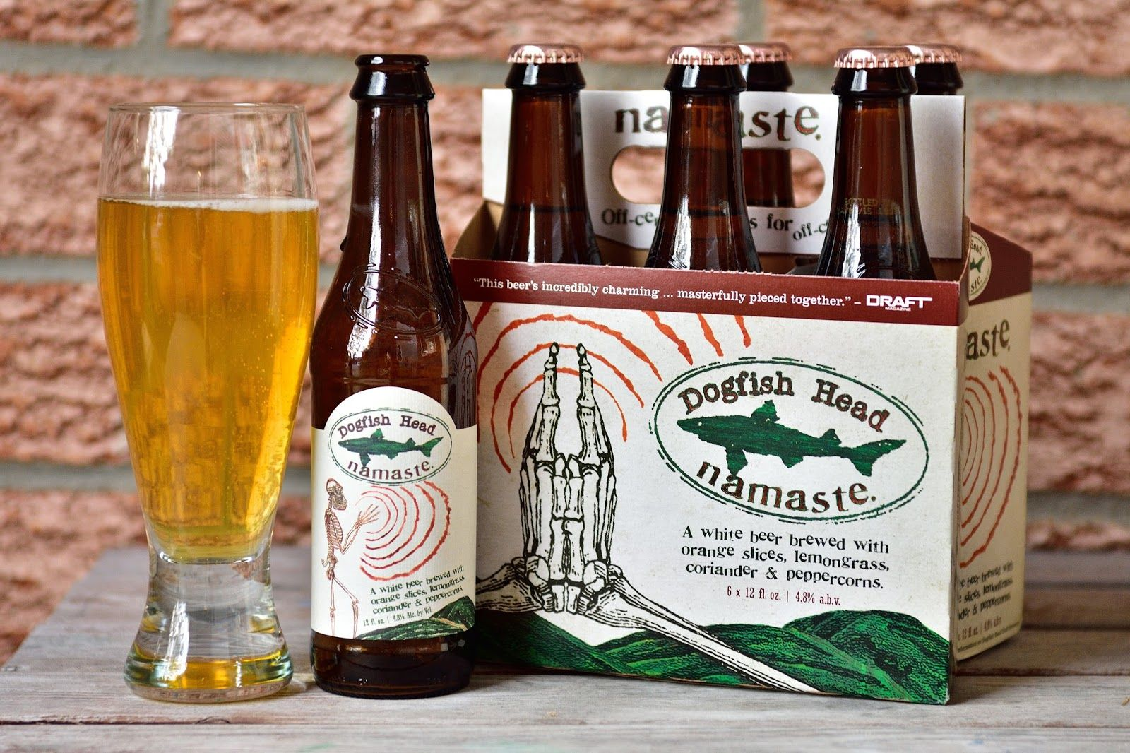 Dogfish Head Namaste: a white beer brewed with orange slices, lemongrass, coriander & peppercorn. Via Beer O'Clock: June 2015