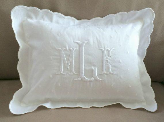 Monogrammed Baby Pillow Crib Nursery Pink Blue White