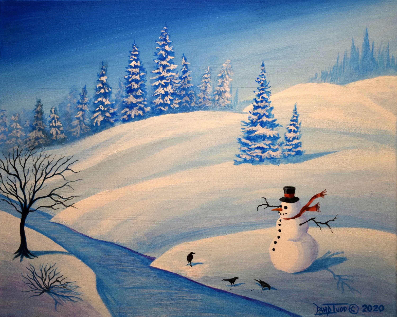 Original Acrylic Painting Snowy Landscape Art Winter Scenery Etsy Winter Landscape Painting Winter Scenery Scenery Paintings