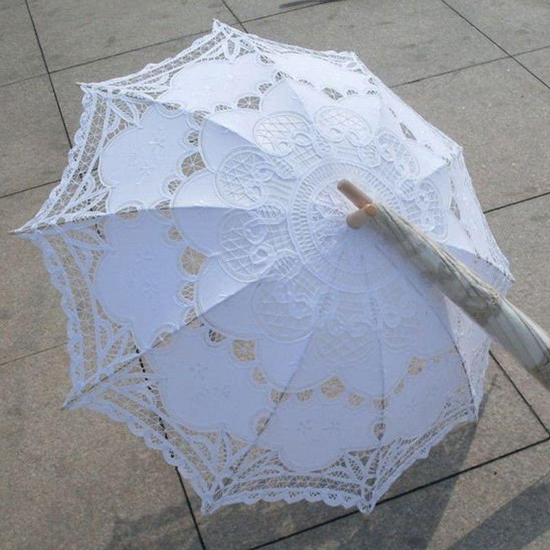 New Lace Umbrella Cotton Embroidery White Battenburg Lace Parasol Umbrella Wedding Umbrella Decorations Free Shipping QAZ268