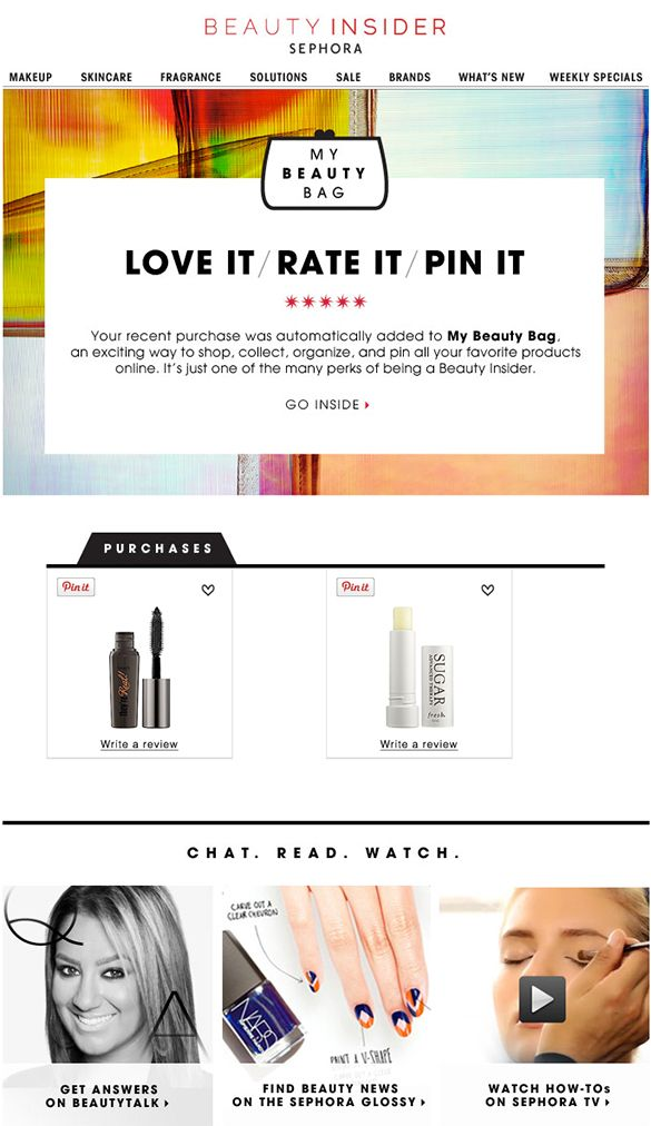 Sephora Email Marketing Design  Purchase Follow Up Email  Email