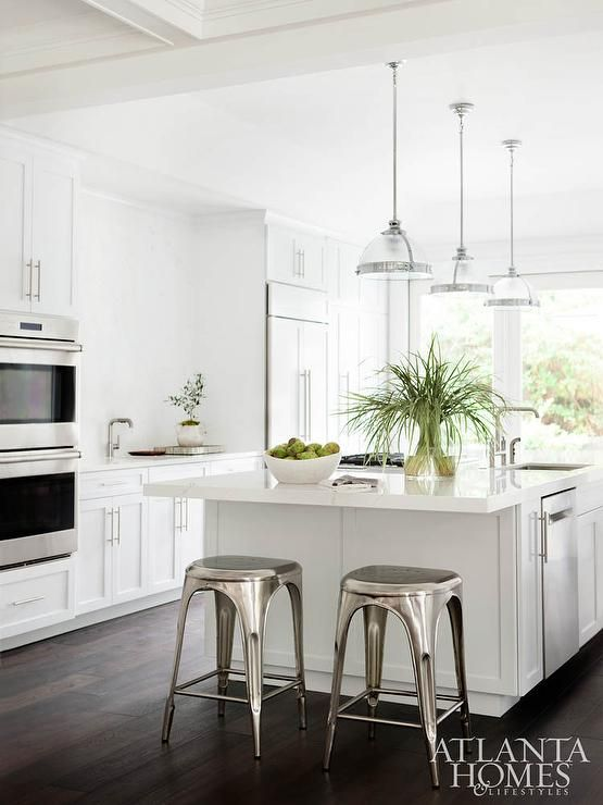 White Kitchen Features Three Restoration Hardware Classic