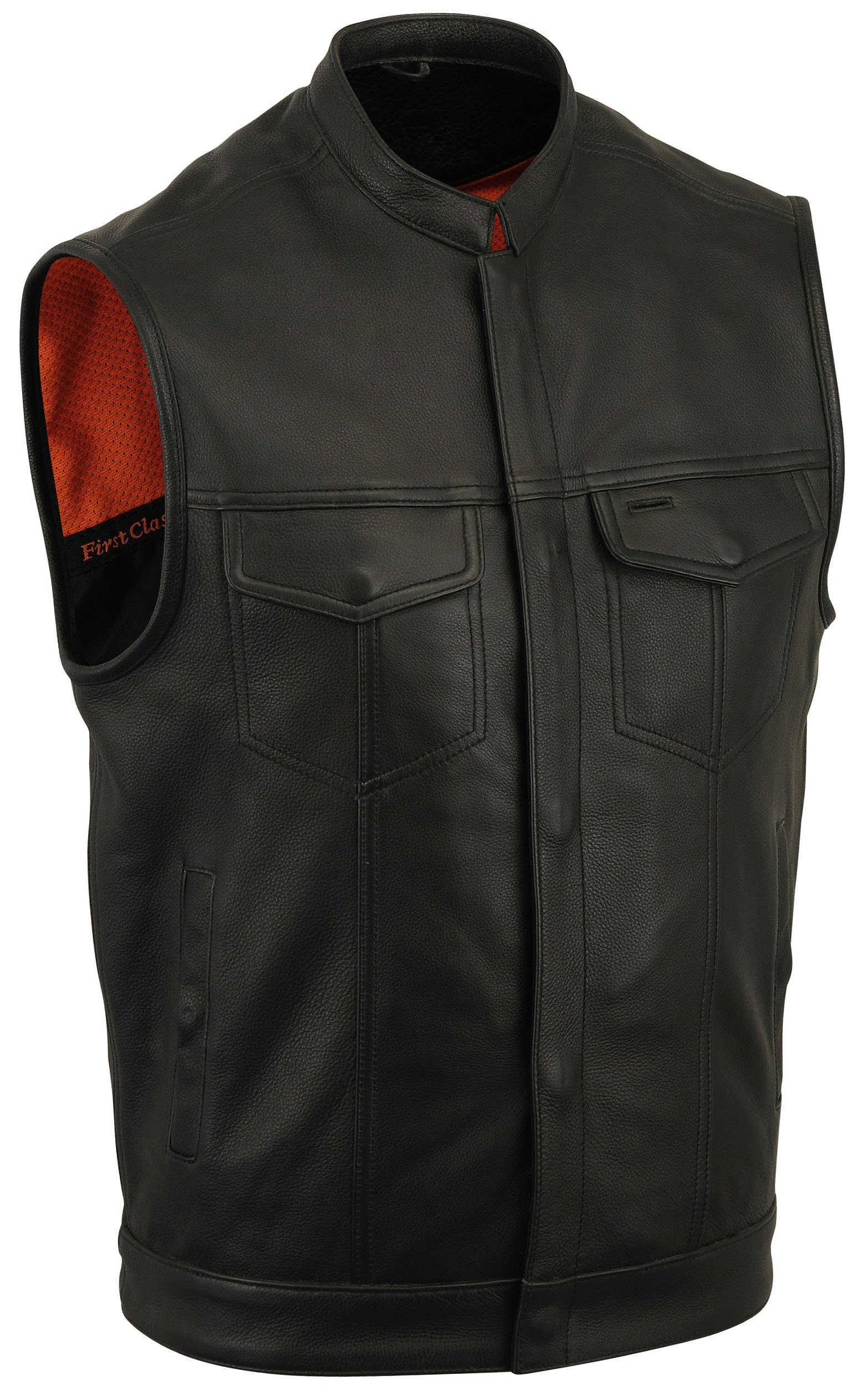 Mens SOA Club Style Leather Vest Snap//Zipper Front w// 2 Gun Pockets Patch Vest