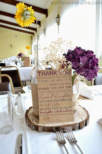 Bonfires And Wine Brie S Rustic Wedding Burlap Lace Centerpiecesburlap Table