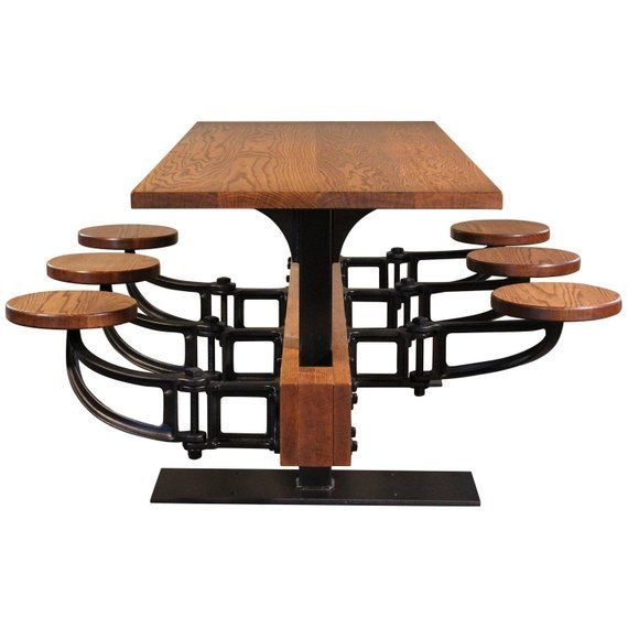 Oak Cafe Style Dining Table With Attached Swing Out Seats Dining