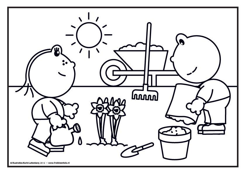 frokkie en lola in de tuin kleurplaten thema bloem