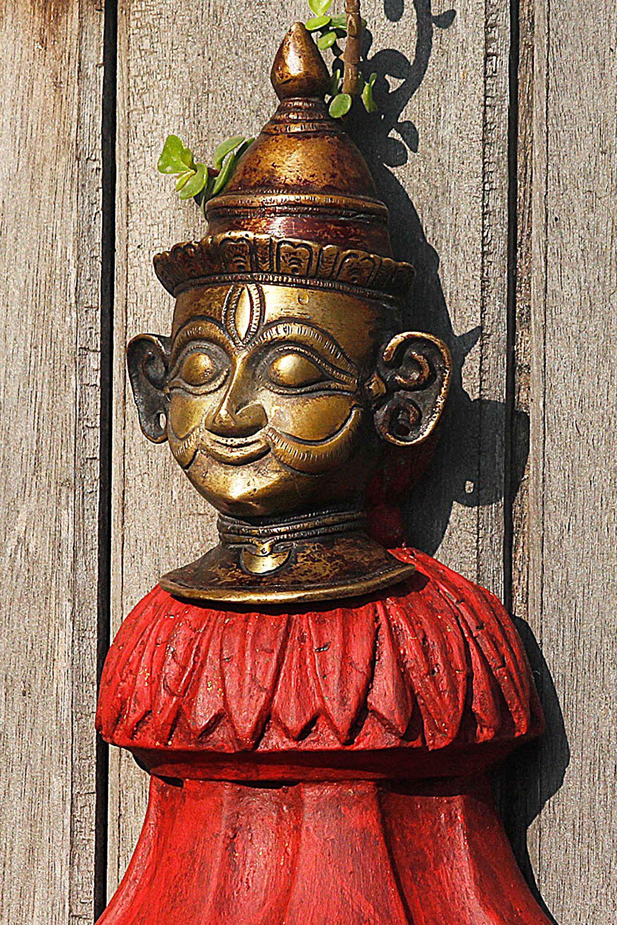 Brass Mukhalinga Theme Antique Lord Shiva Head Tribal Hindu Ritual God