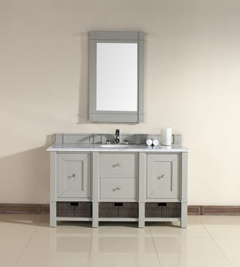 Madison 60 Single Sink Bathroom Vanity Cabinet Dove Grey Finish Carrara White Marble