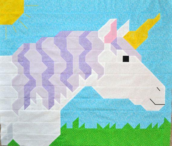 Unicorn Quilt top Pattern (3 sizes) - PDF. $8.00, via Etsy.