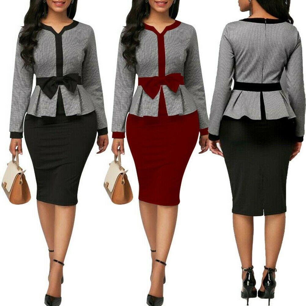 Details zu Elegant Damen Business Büro Midi Kleid Formelle Bodycon