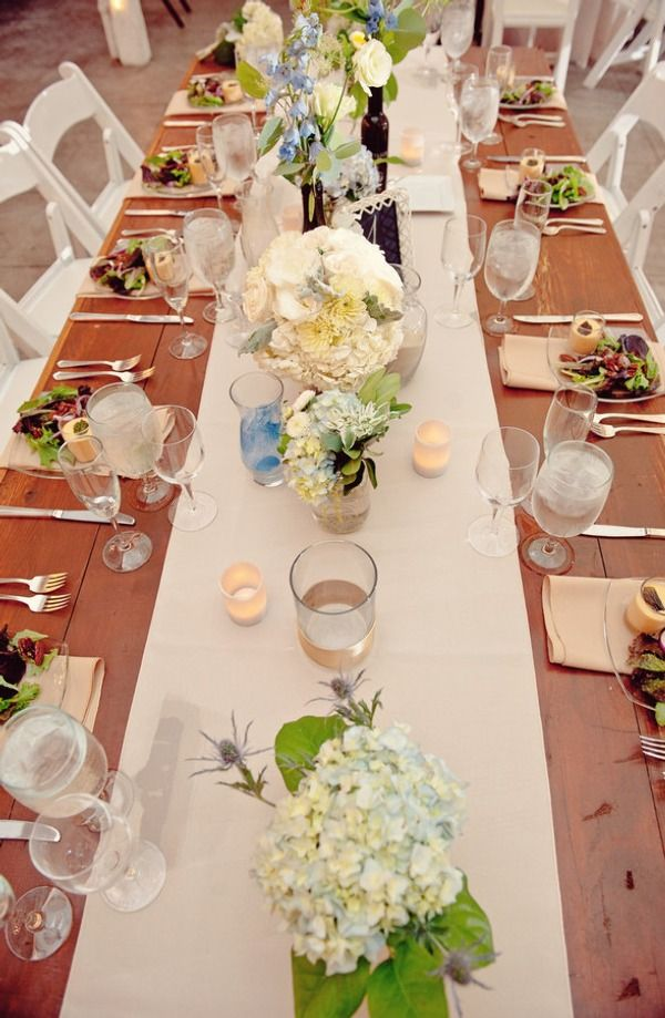 I Like The Long Table And The Subtle Colors Of The Flowers.