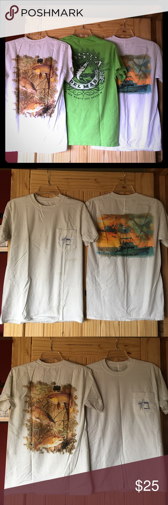 Set of 3 size small Guy Harvey and Costa T-shirts Set of 3 size small T-shirts. 2 white ones are Guy Harvey and the lime green one is Costa. All are size small. The two Guy Harvey shirts have a front chest pocket with the Guy Harvey logo. In good condition! Costa Tops Tees - Short Sleeve