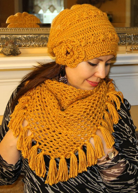 461d4e1abe3 Mustard Yellow Crocheted Hat and Shawl Set - Made to order Mustard Yellow