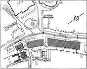 Schets van het Damplan uit 1909 voor bebouwing van de oostkant van de Dam.
