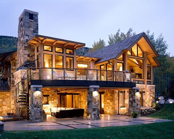 A warm yet contemporary mountain feel in a colorado home for Colorado style house plans