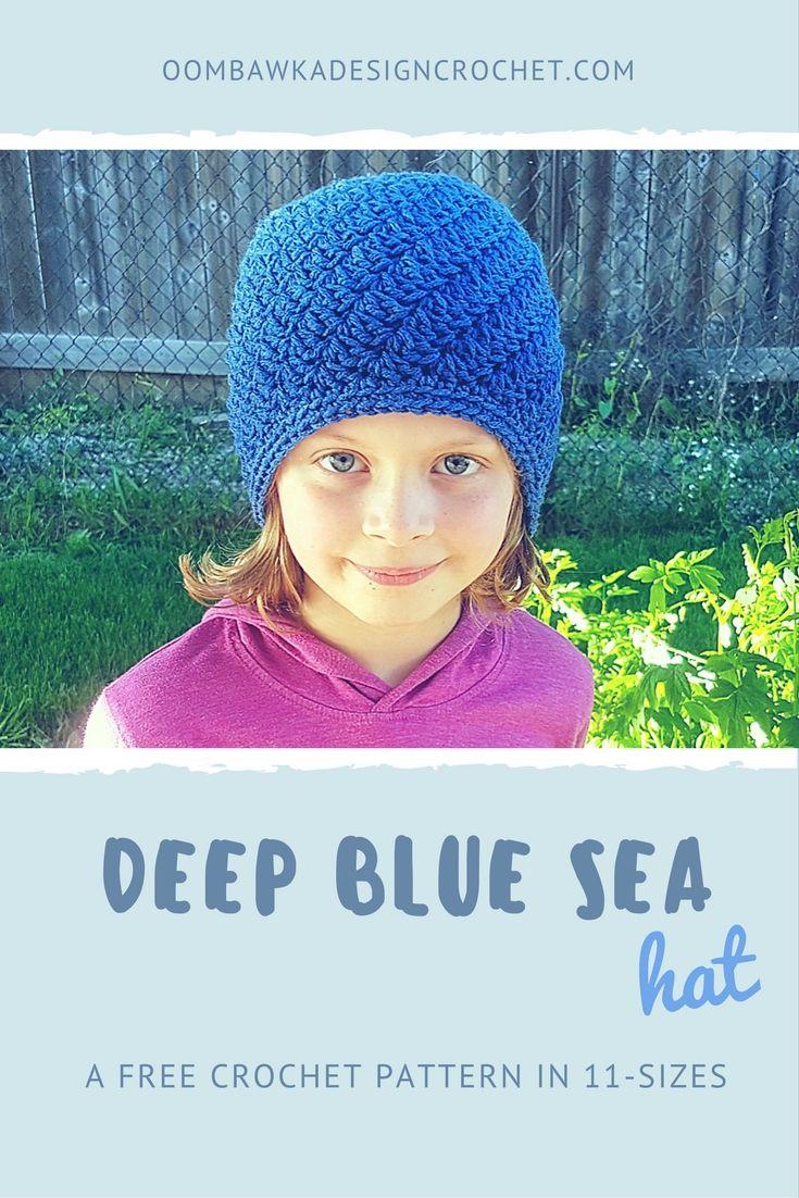 Deep Blue Sea A Free Crochet Pattern in 11 Sizes   Gorros