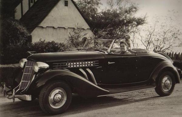 Errol Flynn in an Auburn Speedster, 1935